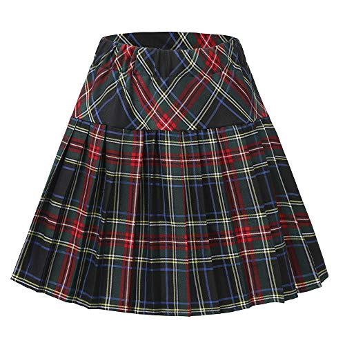 (Urban CoCo Women's Elastic Waist Tartan Pleated School Skirt (Series 18, XL))