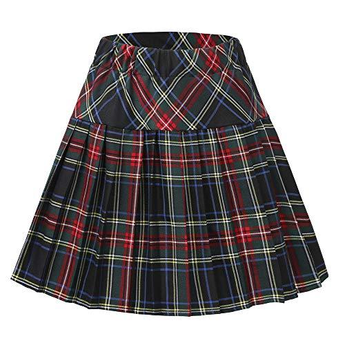 Urban CoCo Women's Elastic Waist Tartan Pleated School Skirt (Series 18, L) ()
