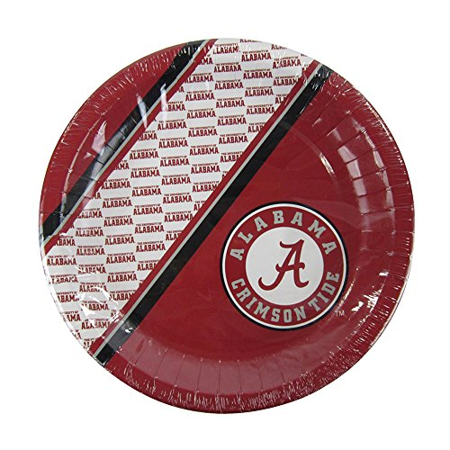 Offically Licensed NCAA Pack of 20 Disposable Plates - Alabama Crimson Tide - Ncaa Licensed Pack