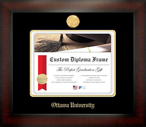 Ottawa University 8½ x 11 Mahogany Finish Infinity Diploma Frame by Celebration - Frames Ottawa