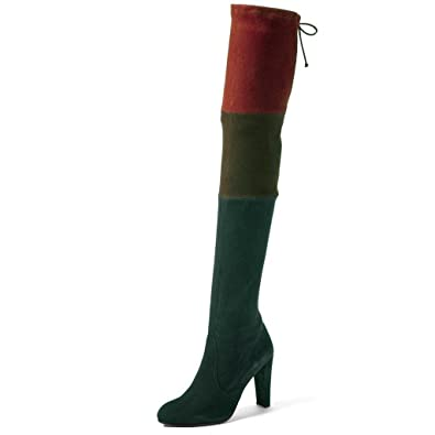 25852348f8c FSJ Women Classic Suede Over The Knee Long Boots Round Toe Chunky Heels  Shoes Size 34-43 EU  Buy Online at Low Prices in India - Amazon.in
