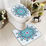 VROSELV Lid Toilet Cover Doors of Mosque Grace Faith Theme Islamic Eid Print White Cushion Non-slip