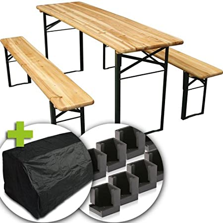 Marko Outdoor Wooden Folding Beer Table Bench Set Outdoor Garden ...