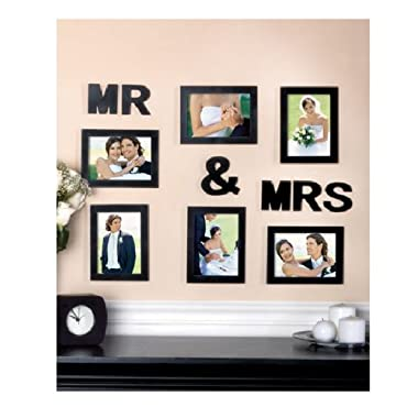 New Black 12 Pc Mr & Mrs Wedding Photo Collage Wedding Anniversary Newlywed Gift