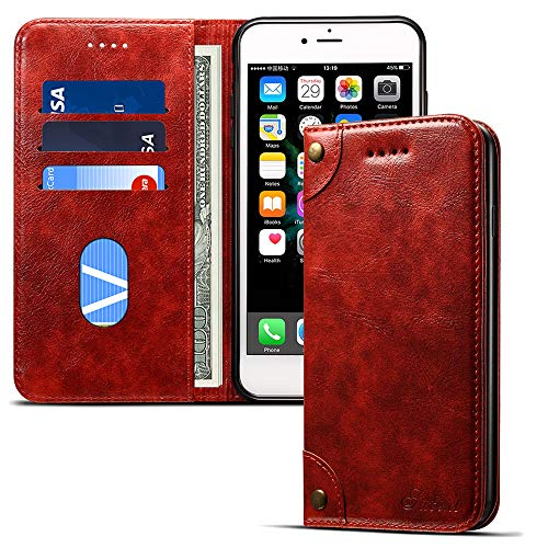 - Wallet Phone Case for Iphone XR Flip Cover with Kickstand Card Holder Slots, Red