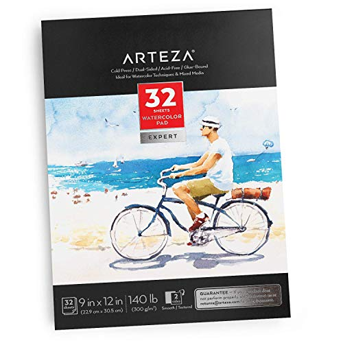 "Arteza 9x12"" Expert Watercolor Pad, 32 Sheets (140lb/300gsm), Cold Pressed, Acid Free Paper, Ideal for Watercolor Techniques and Mixed Media"