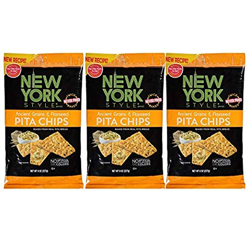 New York Style Pita Chips, Ancient Grain & Flax Seed (Pack of 3)