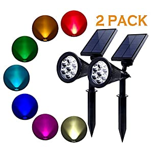 PowerKing LED Solar Low Voltage Landscape Flood Light Colored Waterproof Battery Operated(2 pcs)