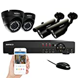 Cheap SANSCO Smart CCTV Security Camera System, 8-Channel 1080N DVR with 4x Super HD 1MP Outdoor Cameras (1280×720 Bullet + Dome Cam, Rapid USB Storage Backup, Vandal Proof Body, Hard Drive NOT Included)