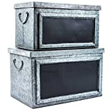Pam's Glam Set of Two Rustic Galvanized Tin Boxes with Chalkboard Labels Decorative Storage Bins or Chests