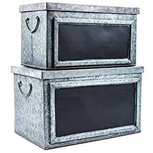 set of two rustic galvanized tin boxes with chalkboard labels decorative storage. Black Bedroom Furniture Sets. Home Design Ideas