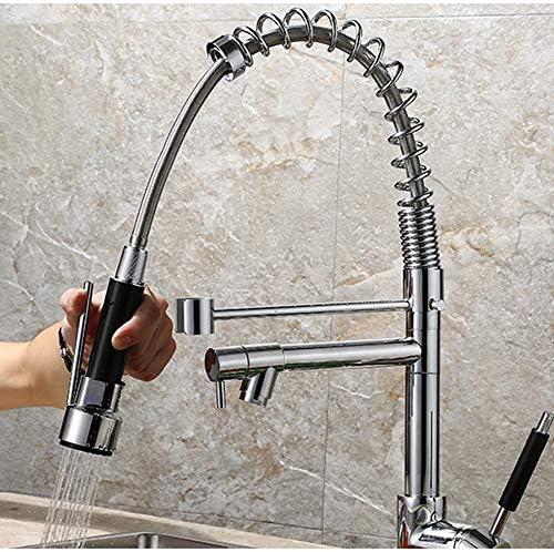 キッチン水栓 360°回転スイベルスパウト噴霧器シングルハンドルクロームカラーキッチン水栓シングルレベル銅ハイアークキッチンシンク蛇口付きホットコールドウォーターミキサー キッチンとバスルームに適しています (Color : Chrome Color, Size : Free Size)