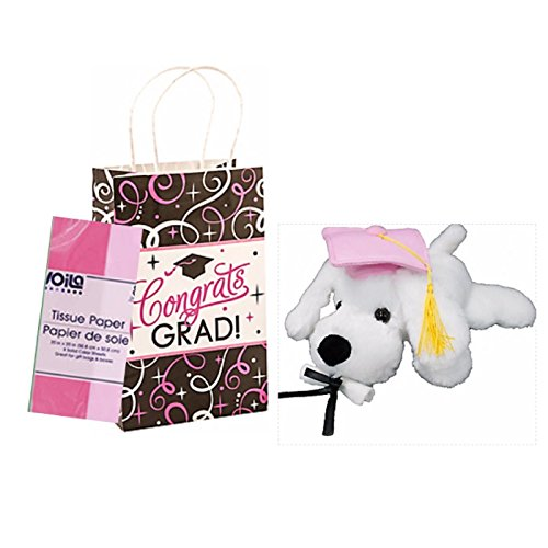Pink Graduation Dog Plush Toy 9 Inch with Gift Bag