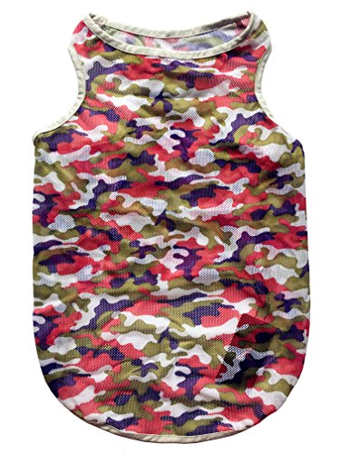 Petroom Dog Camouflage Grid Vest for Large Dogs,Dog Summer Breathable Gilet,Dog Sleeveless T Shirt Red Camo 3XL
