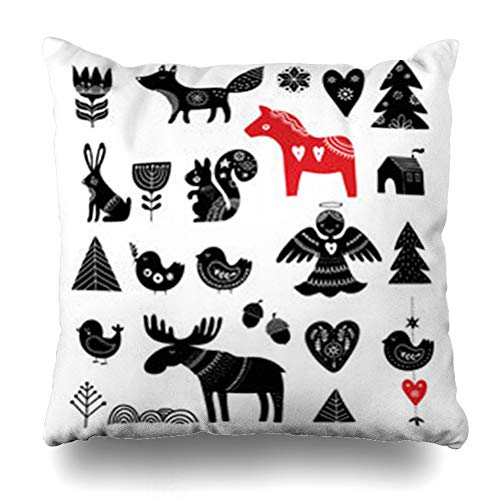 (InterestDecor Throw Pillow Covers Pillowcase Winter Red Bird Christmas Scandinavian Holidays Kids Nordic Heart Cute Christmasdesign Flower Zippered Square Size 18 x 18 Inches Cushion Case )