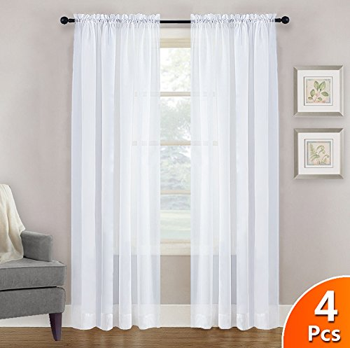 NICETOWN 4 Panels Sheer Curtains 95 Rod Pocket Plain Tulle Sheer Voile Panel Window Curtains/Draperies / Panels Set for Hall (4 Pieces, W60 x L95, White) (Curtains Panel Sheer Polyester)