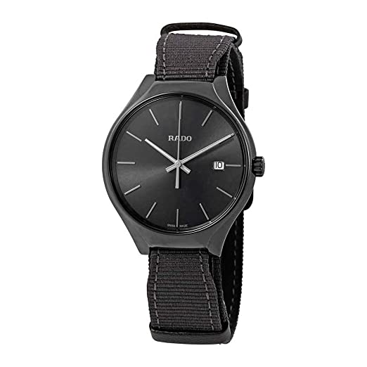 """Reloj Rado de hombre en cerámica gris,""""True"""" con correa de nylon"""