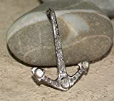 Boho Fashion Pave Diamond Rose Cut Diamond Polki Sterling silver 40mm Anchor Pendant Charm