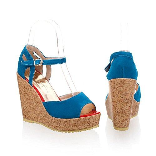 Womens Wedge mit Open Heel High PU Peep Matt Toes Sandalen VogueZone009 Plattform Blau Metallschnallen Solid qSfwFqd