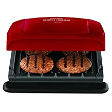 George Foreman 4 Serving Grill with Removable Plates, Red, GRP1060RC