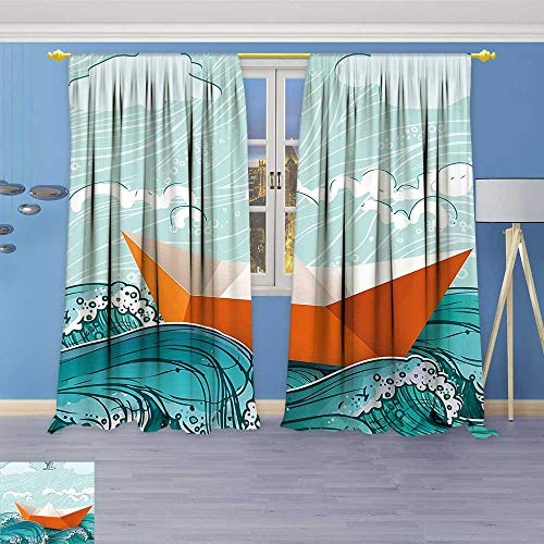 Philiphome Embossed Thermal Weaved Grommet Blackout Curtains Sealife with Waves and a Paper Sail Ship with Travel Quote Image Orange Blocks up to 80% of Sunlight- Premium Draperies