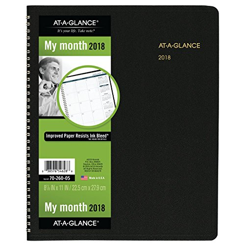 "AT-A-GLANCE Monthly Planner, January 2018 - March 2019, 8-7/8"" x 11"", Black (7026005)"