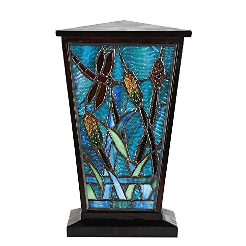 Stained Glass Memorial Urn for Adults - Large - Holds Up to 200 Cubic Inches of Ashes - Aqua Blue Cremation Urn for Ashes - Engraving Sold Separately