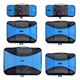 Pro Packing Cubes - 6 Piece Lightweight Travel Cube Set - Organizers and Compression Pouches System for Carry-on Luggage, Suitcase and Backpacking Accessories (Sky Blue)