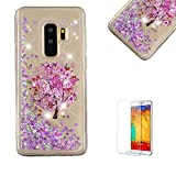 Funyye Liquid Glitter Case for Samsung Galaxy A8 2018,Luxury Pink Flower Tree Sparkly Floating Water Liquid Love Hearts Design Transparent Soft Silicone Gel TPU Case for Samsung Galaxy A8 2018,Ultra Thin Crystal Rubber Durable Shell Bumper Back Protective Case for Samsung Galaxy A8 2018 + 1 x Free Screen Protector