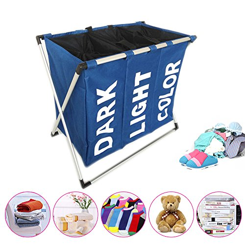 LUCKSTAR Laundry Hamper - Oxford Laundry Basket 3 Section Folding Laundry Sorter Hamper Dirty Clothes Washing Basket Storage Organizer with Mesh Lid and Handle for Dirty Clothes Baby Accessories(Blue)