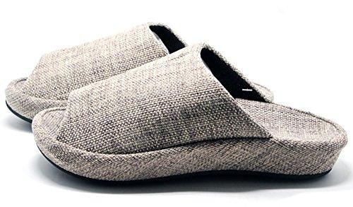 Unisex-Hausschuhe Happy Lily rutschfester offenen Zehen Sandale 3D Struktur Pantoletten Kleid Baumwolle Stoff Indoor Schuhe für Erwachsene grau