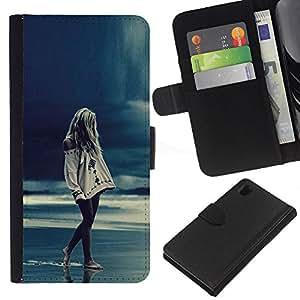 For Sony Xperia Z1 L39 Case , Girl Rain Blue Ocean Legs Night - la tarjeta de Crédito Slots PU Funda de cuero Monedero caso cubierta de piel