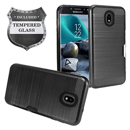 - Z-GEN - Galaxy J7 2018, J7 Refine, J7 Star, J7 Crown, J7 Aura, J7 Top, J7 V J7V 2nd Gen J737 - Brushed Hybrid Phone Case w/Card Slot for Samsung + Tempered Glass Screen Protector - CS1 Black