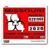 Missouri MO Zombie Hunting License Permit Red - Biohazard Response Team - Window Bumper Locker Sticker