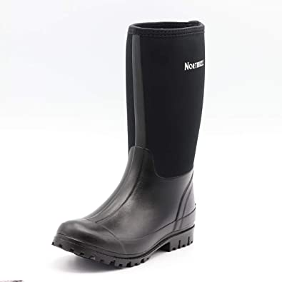 50730ad913ee2 Northikee Men s Rain Boots Rubber Hunting Waterproof Insulated Slip  Resistant Neoprene Black Upper Outdoor Snow Durable