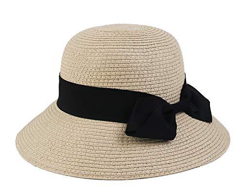 Melesh Packable Wide Brim Summer Straw Sun Beach Bucket Hat (Kids, Beige)]()