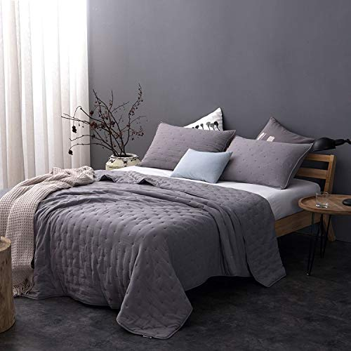 KASENTEX Quilt Coverlet-Bedspread-Set + Two Shams, Ultra Soft, Machine Washable, Lightweight, All Season Comforter, Nostalgic Design - Hypoallergenic - Solid Color, King + 2 King, Grey ()