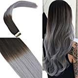 """Youngsee 18"""" 20pcs Human Hair Tape in Hair Extensions Ombre Natural Black to"""