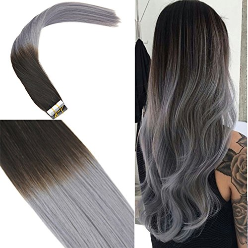 Youngsee 22inch 20pcs Remy Tape in Hair Extensions Ombre Natural Black to Blue Grey Silk Straight Seamless Tape in Human Hair Extensions 50gram