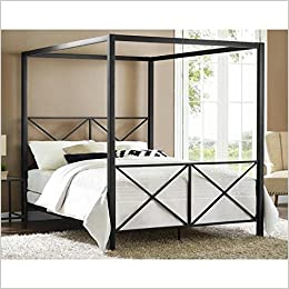 amazoncom avenue greene rosedale black sturdy metal canopy queen bed 4068039 - Queen Bed Frame Amazon