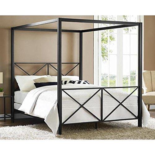 Avenue Greene Rosedale Black Sturdy Metal Canopy Queen Bed 4068039 - Rosedale Metal