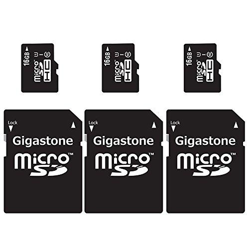 Gigastone 3-Packs MicroSD HC 16GB C10 U1 With SD Adapter includes Bonus Instant Savings Coupon by Gigastone