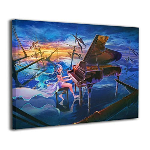 POLKJIH Anime Girl, Playing Piano Popular Oil Paintings Abstract Wall Art Ready to Hang ForBathroom Decor 20x16inch