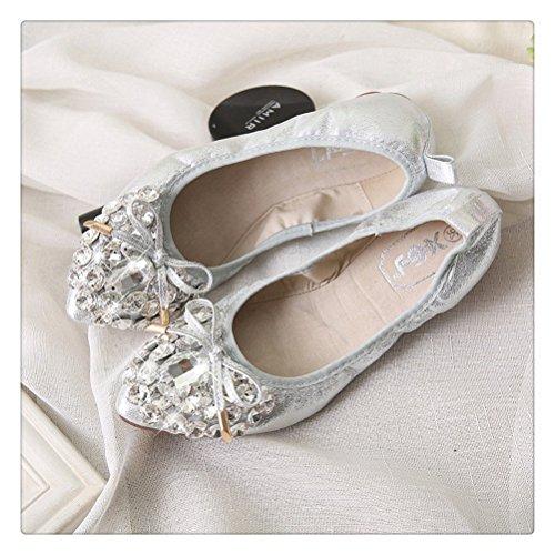 Toujours Jolie Femme Cristaux Ballerines Flexibles Lady Ballerine Élastique Chaussures Argent
