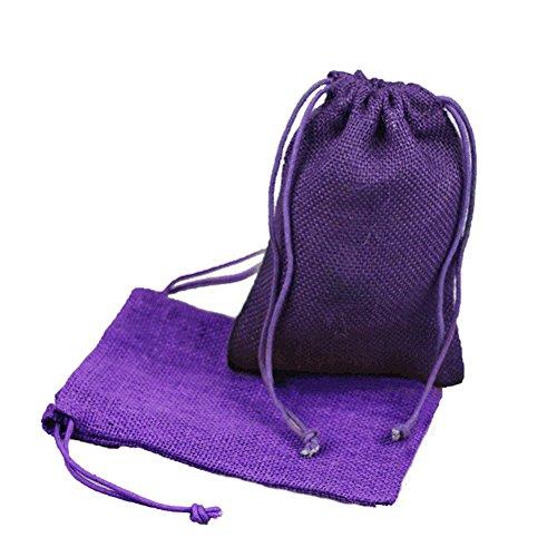 Custom Printed Burlap Drawstring Bags - 5