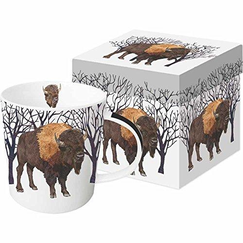 Paperproducts Design 28238 Winter Buffalo Gift Boxed Mug, 13.5 oz, Brown