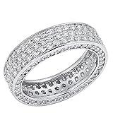 eternity wedding bands llc - 6mm Sterling Silver FancyCZ Side Stones Wedding Band Eternity Ring 5-10 (6)