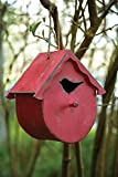 MW Harvest Moon Wooden Bird House Round Red 9.5X6X10