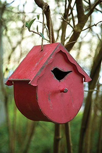 MW Harvest Moon Wooden Bird House Round Red 9.5X6X10 by Manual Woodworkers