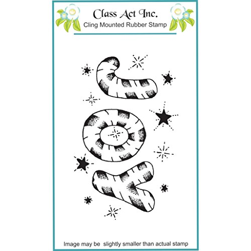 Class Act Cling Mounted Rubber Stamp, 3.25 by 5.5-Inch, Candy Cane Joy